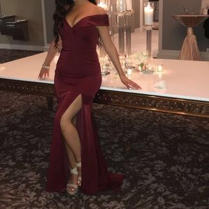 Sexy over the shoulder dark red long prom dress